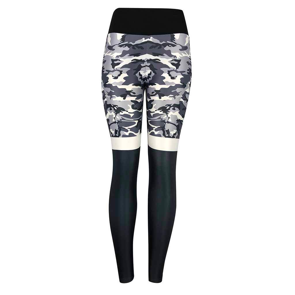 NNCTA Womens Fashion Camouflage High Waist Pleated Sports Gym Yoga Athletic Pants