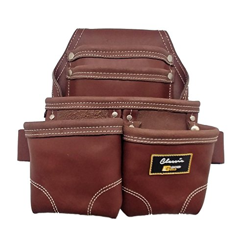 - Leather Gold Nail Pouch | Leather Tool Pouch 3350DP, 5 Pockets, Brown, Oil-Tanned Leather, Heavy Duty Carpenter Tool Belt With Reinforced Seams and 2 Hammer Holders