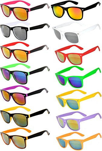 Wholesale Bulk Matte Colored Mirrored and Smoke Lens Sunglasses 14 pairs - Sunglasses Mirrored Wholesale