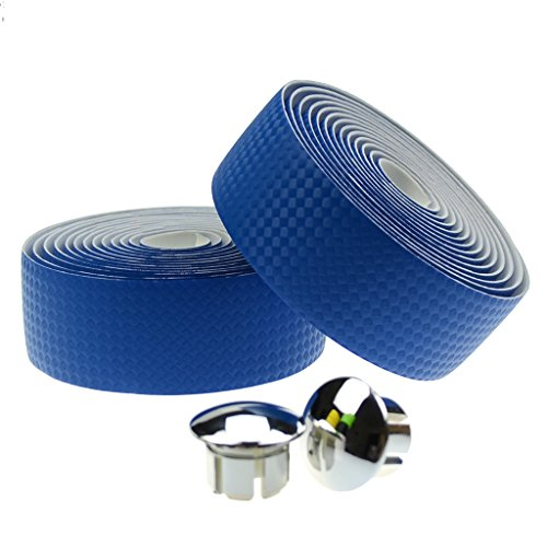 KINGOU Blue Carbon Fiber PU Leather Road Bike Handlebar Tape Bar Wraps with Bar