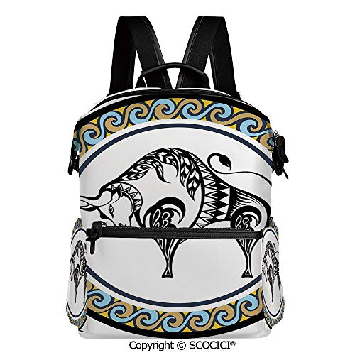 SCOCICI Stylish Bookbags Child Back to School Gift,Retro Style Ornamental Featured Circle with the Bull Zodiac Vintage Birthday Design Decorative,L11.4xW6.3xH15 Inches