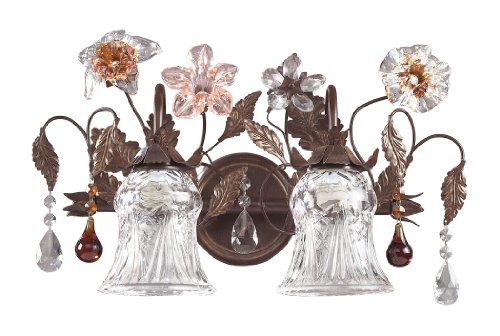 Elk 7040/2 2-Light Vanity In Deep Rust And Hand Blown Florets (Cristallo Fiore 18 Light)