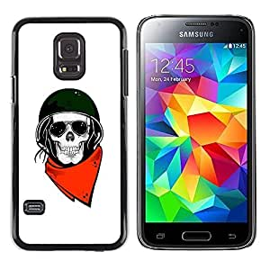 A-type Colorful Printed Hard Protective Back Case Cover Shell Skin for Samsung Galaxy S5 Mini / Samsung Galaxy S5 Mini Duos / SM-G800 !!!NOT S5 REGULAR! ( Biker Helmet Motorcycle White Skull )
