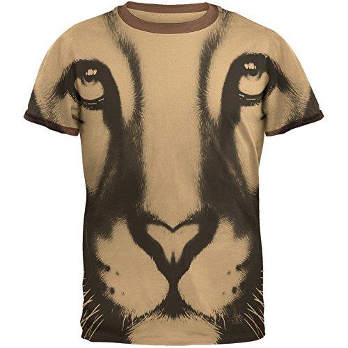 Mountain Lion Cougar Ghost Face Tan-Brown Men's Ringer T-Shirt - (Brown Mens Ringer)