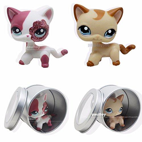 [tongrou 2pcs #1024 #2291Littlest Pet Shop RARE pink & Brown Short Hair Cat kitty LPS] (Pinata And Bat Costume)