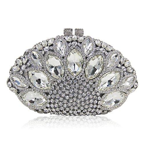 à pierres secteur Argent forme sac Flada strass mariage précieuses soirée femme Champagne embrayage main 0aI55Hqx