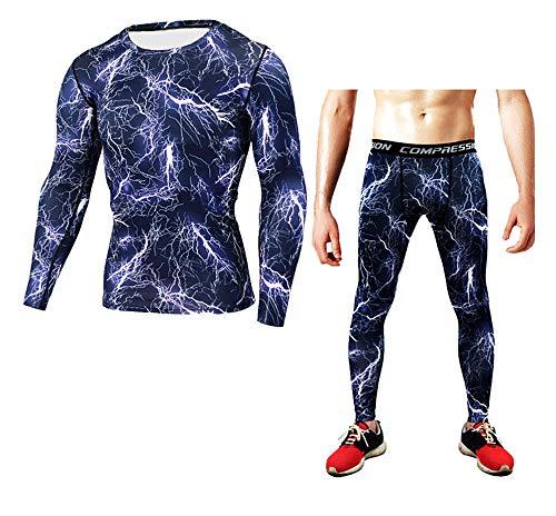 Dazisen Palestra Style Pantalone Collant 7 Uomo Compressione Lunga Traspirante Sport Fitness SetManica Magliettaamp; 5AjLq34R