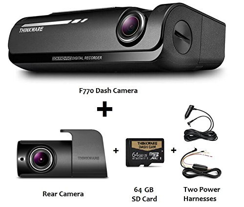 Thinkware F770 1080P HD WiFi Dash Camera with Rearview Camera, 64 GB SD Card and 2 Power Harness (3 Items) by Thinkware