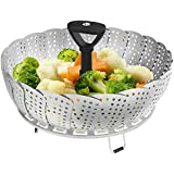 Vremi Collapsible Vegetable Steamer Basket for Large and Small Pan - 100% Stainless Steel - Round Steaming Tray Fits Instant Pot Electric Pressure Cooker - Extendable Handle and Silicone Feet - Black
