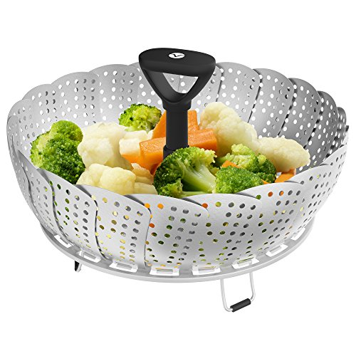 Vremi Collapsible Vegetable Steamer Basket for Large and Small Pan - 100% Stainless Steel - Round Steaming Tray Fits Instant Pot Electric Pressure Cooker - Extendable Handle and Silicone Feet - Black ()