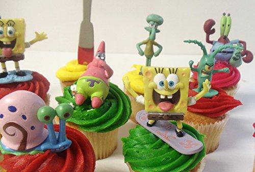Spongebob SquarePants 11 Piece Birthday Cupcake Topper Set Featuring