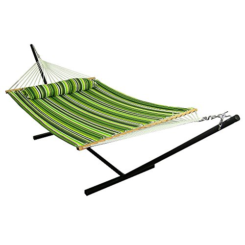 Cheap Sunnydaze 2 Person Double Hammock with 12 Foot Portable Steel Stand & Spreader Bar, Quilted Fabric Bed, Melon Stripe