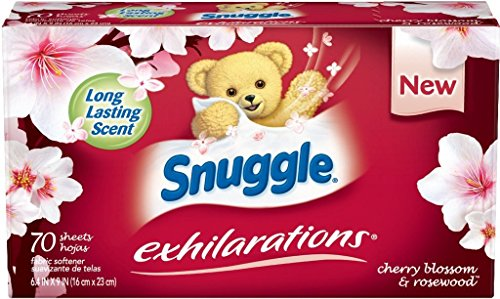 Snuggle Exhilarations Fabric Softener Dryer Sheets, Cherry Blossom and Rosewood, 70 Coun