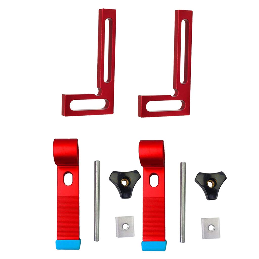 Flameer 2 Set Clamping Blocks DIY Clamps Hand Tools & T Track + 2 Pieces Rectangular Positioning 90 Degree Square Woodworking Ruler