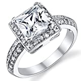 2 Carat Princess Cut Cubic Zirconia Sterling Silver 925 Wedding Engagement Ring Size 5