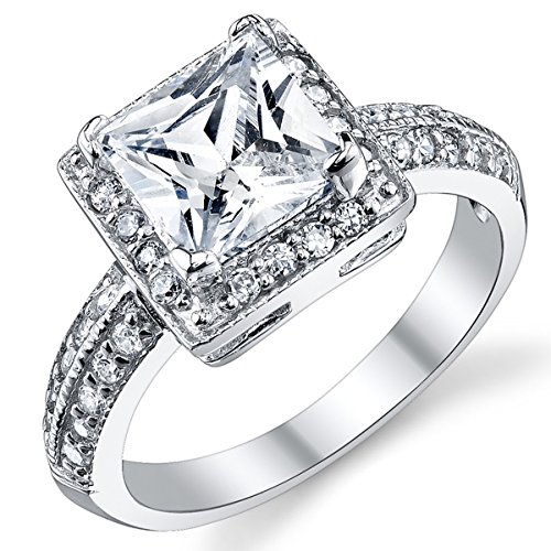 (2 Carat Princess Cut Cubic Zirconia Sterling Silver 925 Wedding Engagement Ring Size 8)