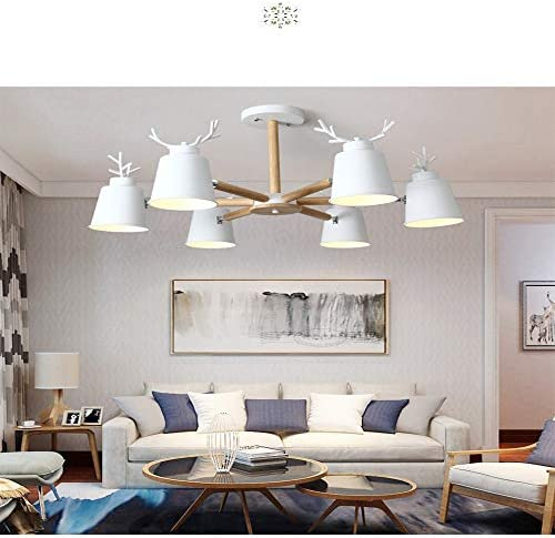 Nordic Macaron Chandelier Pendant lamp Rotary Solid Wood Pendant lamp Indoor Lighting Bedroom lamp Restaurant Antler Living Room lamp E27 Light Source,White 6 Lights