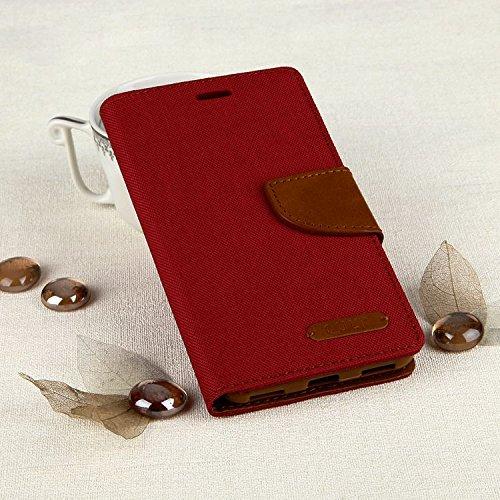 Stylisches Bookstyle Handytasche Flip Case für Huawei Y6 2017 - Handy Schutz Hülle Etui Schale Cover Book Case rot-braun
