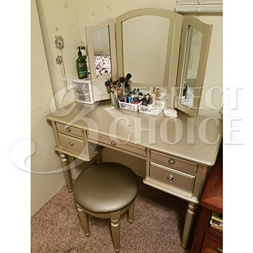 1perfectchoice tri folding mirror vanity set makeup table for Silver vanity table