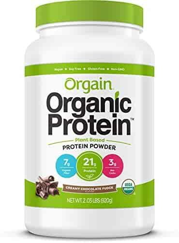 Orgain Organic Plant Based Protein Powder, Creamy Chocolate Fudge, Vegan, Gluten Free, Kosher, Non-GMO, 2.03 Pound, Packaging May Vary