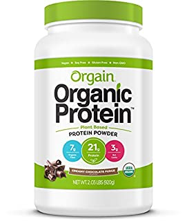 Orgain Organic Plant Based Protein Powder, Creamy Chocolate Fudge - Vegan, Low Net Carbs, Non Dairy, Gluten Free, Lactose Free, No Sugar Added, Soy Free, Kosher, Non-GMO, 2.03 Pound (B00J074W94) | Amazon Products