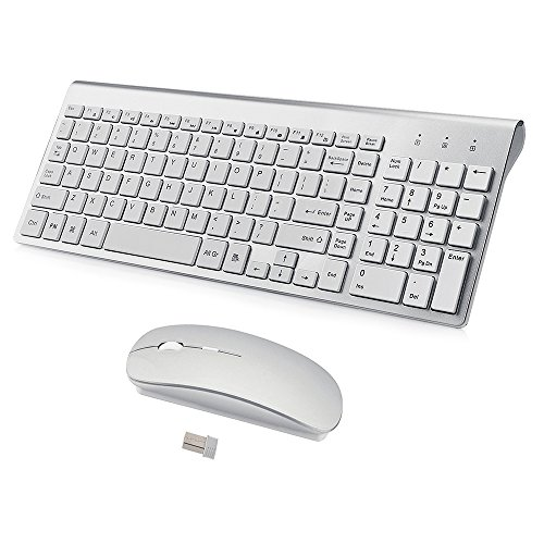 Wireless Keyboard and Mouse Combo,Ultra Slim with Mute Whispe-Quiet Keys for Laptop Notebook Mac PC Computer Windows OS Android (LC-TZ22-2) (Mac Keyboard And Mouse)
