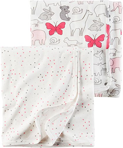 (Carter's Baby Girls' 2-Pack Swaddle Blankets , Solid Pink , One Size )