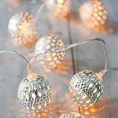 I3C Hada marroquí bola luces LED funciona con pilas, lámpara de decoración para el hogar y al aire libre (plata, 3…