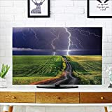 Leighhome Dust Resistant Television Protector About to Appear with Flash on The Field Solar Illumination Energy Green Blue tv dust Cover W36 x H60 INCH/TV 65''