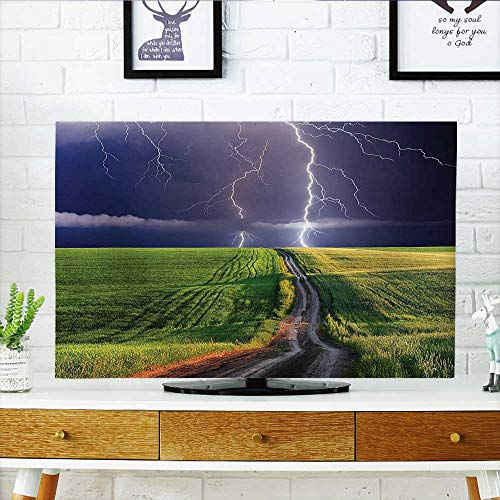 Leighhome Dust Resistant Television Protector About to Appear with Flash on The Field Solar Illumination Energy Green Blue tv dust Cover W36 x H60 INCH/TV 65'' by Leighhome