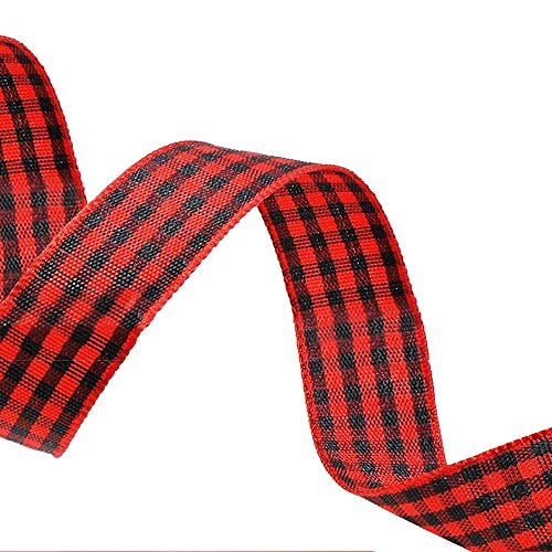 Ornerx Grosgrain Ribbon Plaid Red Black 3/8