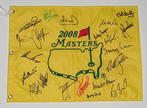 2008 MASTERS GOLF FLAG SIGNED BY 21 CHAMPIONS - Player, Watson, Couples, Faldo, Autographed Golf Pin Flags