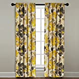 The Pillow Collection Rod Pocket Watercolor Floral Window Panel, 84'' Long, Yellow
