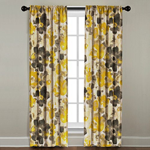 The Pillow Collection Rod Pocket Watercolor Floral Window Panel, 120'' Long, Yellow