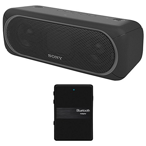 Sony XB40 Portable Wireless Speaker with Bluetooth, Black - SRSXB40/BLK + Bluetooth 4.1 Stereo Receiver and Transmitter 2 in 1
