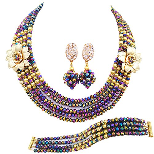 laanc 5 Rows Multicolors African Beads Jewelry Set,nigerian Wedding Beads Jewellery Sets A-022A (Multicolor ()