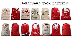 TOPOKO Christmas Gift Sacks Drawstring Canvas Bags For Kids Santa Claus Christmas Burlap Bags (Christmas-12 pack)