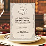 Picky Bride Luxury Wedding Invitations Handmade Double Layer Invitation Cards Gray Color Envelope Included - Lot of 50