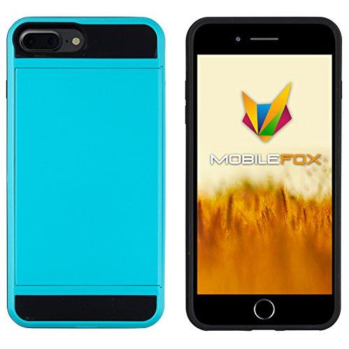 Mobilefox Kathrin Schutzhülle Silikon Case Kartenfach Apple iPhone 7 Plus Hellblau