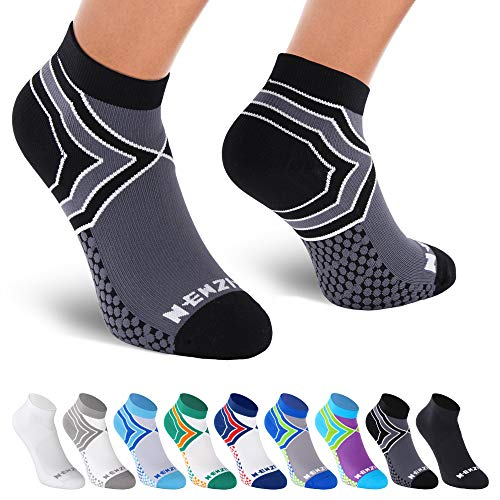 NEWZILL Low Cut Compression Socks - Unisex Running Socks with Embedded Frequency Technology for Heel, Ankle & Arch Support (Large, Black/Grey) ()