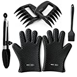 HUO ZAO Silicone Gloves, 4 x BBQ Tools Set, Heat Resistant Grilling Oven Gloves Mitts Mitten, Meat Claws Shredder, Brush, Tongs for Cooking, Grilling, Baking, Barbecue & More