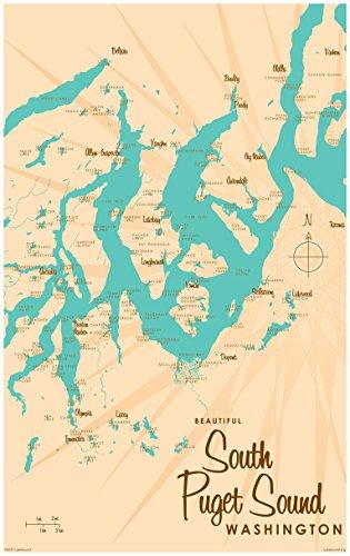 South Puget Sound Washington Map Vintage-Style Art Print by Lakebound (24