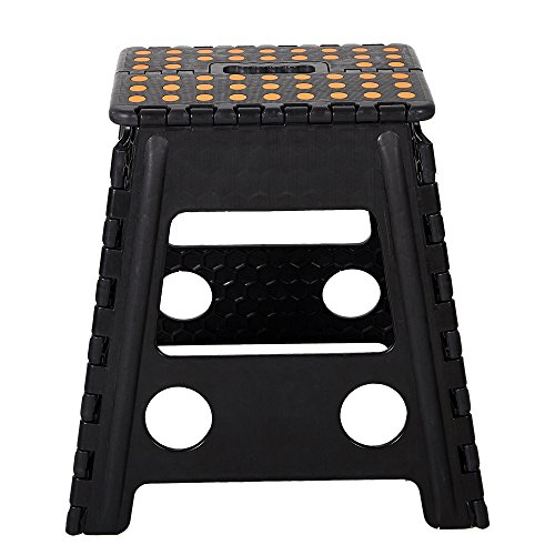 Lucky Tree Super Strong Folding Step Stool 15 Inch Portable Carrying Handle for Adults and Kids.Great for Kitchen Garden Black by Lucky Tree