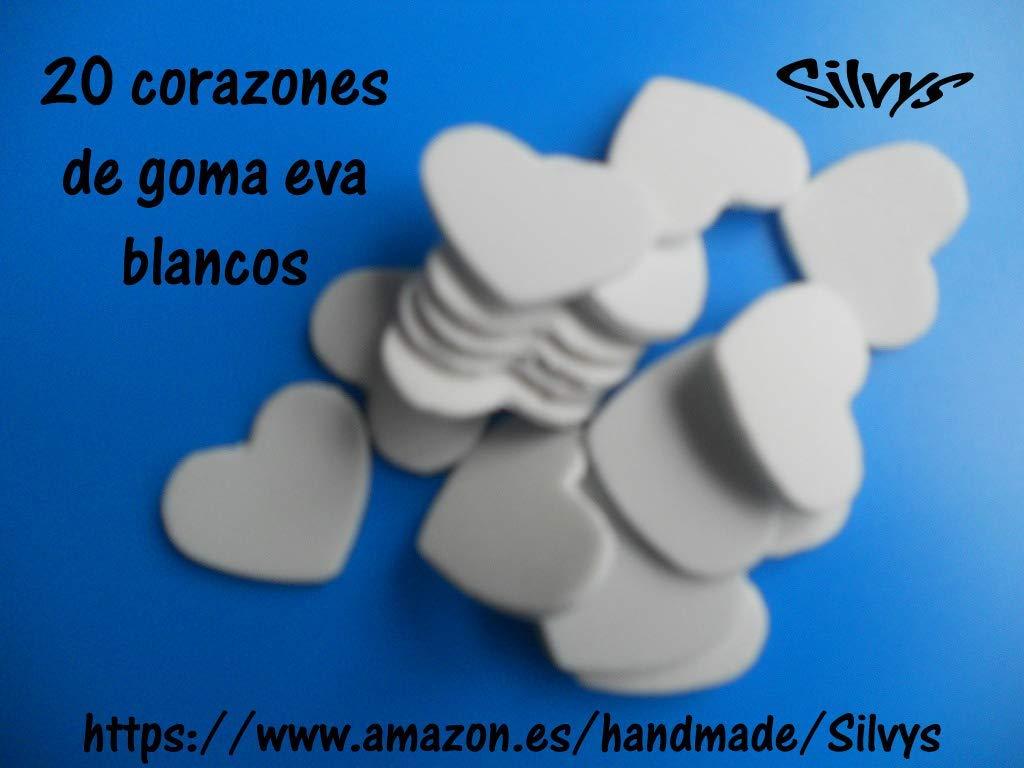 20 corazones de 2,5 cm x 2,5cm aprox. de color blanco de ...