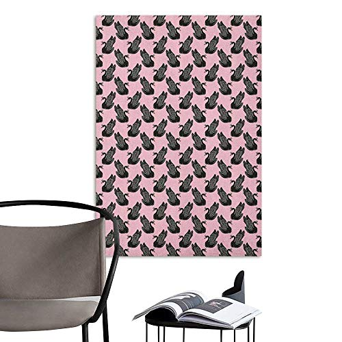 Wall Stickers Swan Vintage Pin Up Pattern with Black Swan Princess Figures for Girls Kids Nursery Pale Pink Black Room Bedside W8 x H10 ()