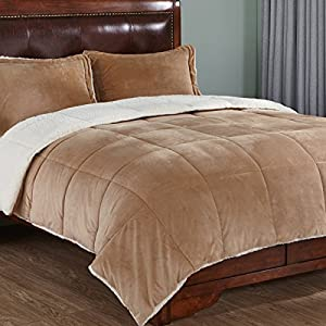 3-Piece Sherpa Reversible Down Alternative Comforter Set with Pillow Shams, Queen Size, Gold