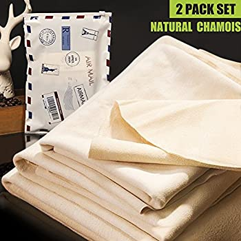 NATURAL CHAMOIS Vehicle Cleaning Accessories,Leather Chamois Cloth Natural Shammy Drying Towel Dryer for Car Wash Care3 Available Sizes.L/M/S (L-Size 2 PACK)