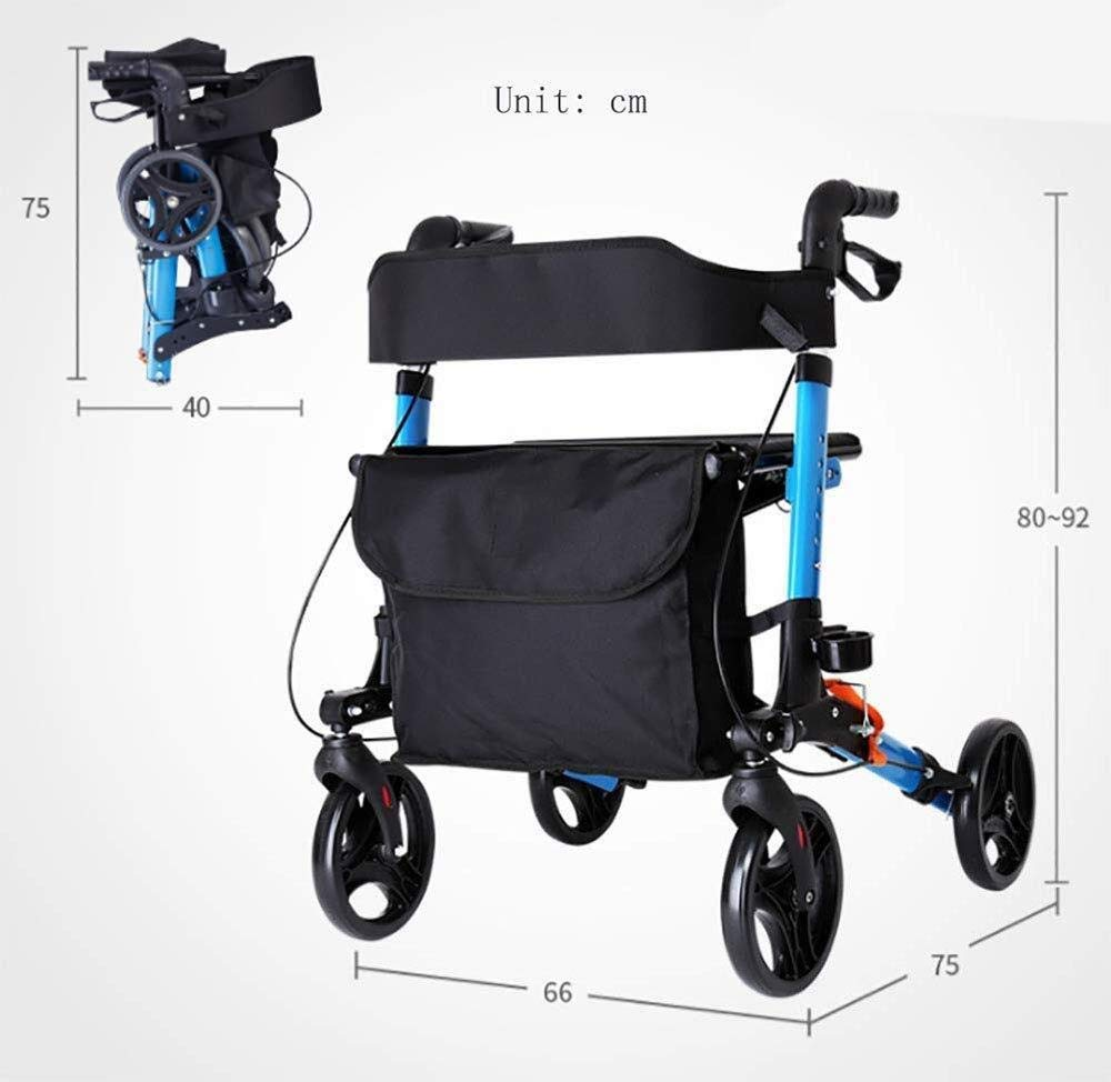 Folding Rollator Walker with Dual Brakes, Seat and Detachable Storage Bag, Senior Shopping Carts for The Elderly Walker Four-Wheeled Scooter Foldable by FHRX
