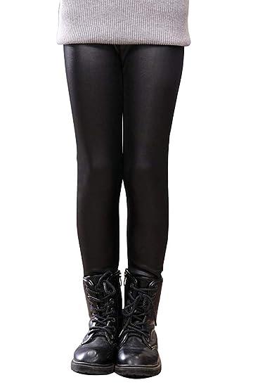 f37fffe6edddd BOGIWELL Kids Girls Winter Warm Fleece Linen Faux Leather Leggings Children  Pants Pure Black(US