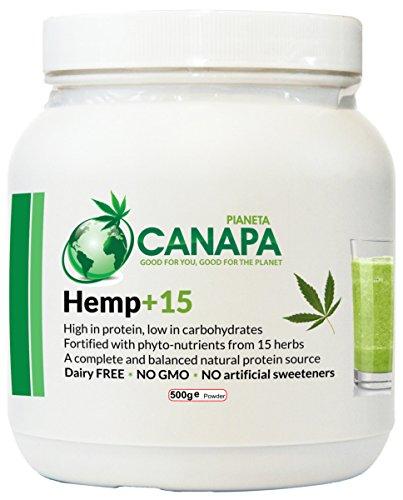 <b>Hemp+15 proteine della canapa in polvere, vegane, con 15 erbe benefiche. 100% naturale. Facilmente digeribile, adatte a bambini, anziani, atleti.</b>